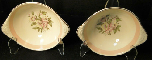 "Homer Laughlin Nautilus N1769 Lugged Cereal Bowls 7"" Pink Band Set 2 