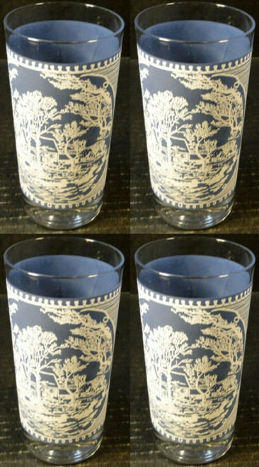 """Royal China Currier Ives Glasses 12 Oz 5 5/8"""" Tall Water Tumbler Set 4 