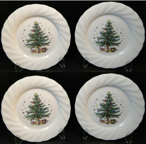 """Nikko Happy Holidays Dinner Plates 10 3/4"""" Christmas Tree Japan Set 4   DR Vintage Dinnerware and Replacements"""