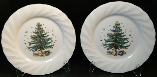 """Nikko Happy Holidays Dinner Plates 10 3/4"""" Christmas Tree Japan Set 2   DR Vintage Dinnerware and Replacements"""