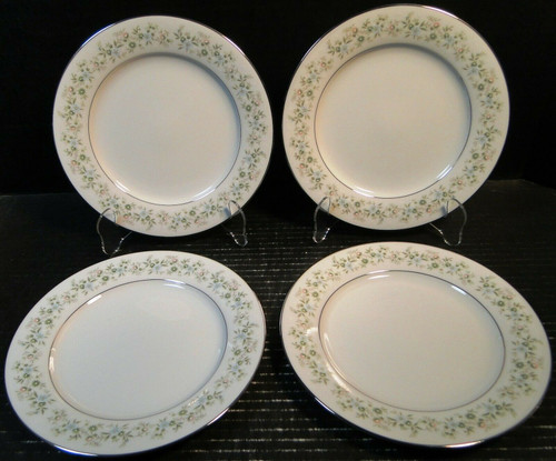 "Noritake Savannah Dinner Plates 10 1/2"" 2031 Green Floral Set of 4 
