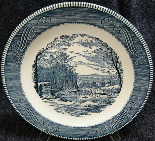 """Royal China Currier Ives Blue White Chop Plate 11 1/2"""" Getting Ice 