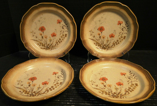 """Mikasa Whole Wheat Jardiniere Salad Plates 8"""" E8016 Set of 4 