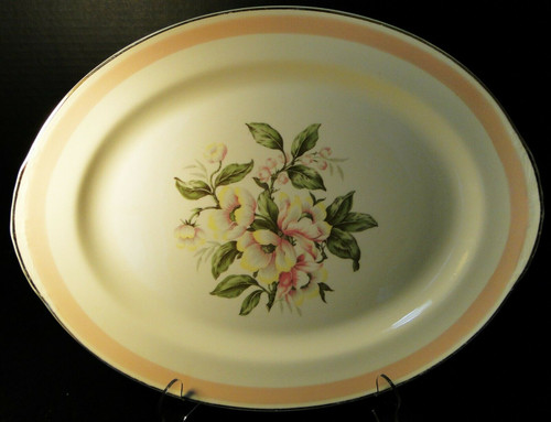 "Homer Laughlin Nautilus N1769 Large Oval Platter 15 1/2"" Pink Band 