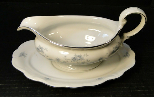 Johann Haviland Traditions Blue Garland Gravy Boat Separate UnderPlate | DR Vintage Dinnerware and Replacements
