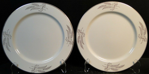 "Lifetime China Prairie Gold Dinner Plates 10 1/4"" Alliance Ohio Set 2 