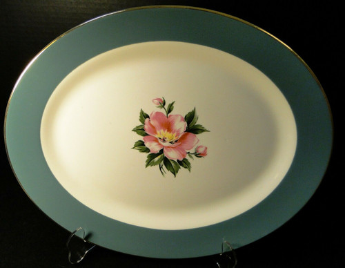Homer Laughlin Century Service Empire Green Large Oval Platter 14"