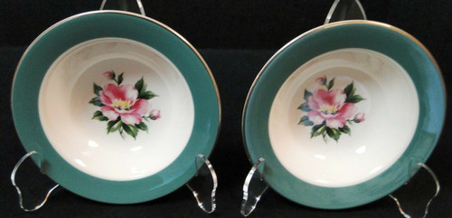 "Homer Laughlin Century Service Empire Green Berry Bowls 5 7/8"" Set 2 