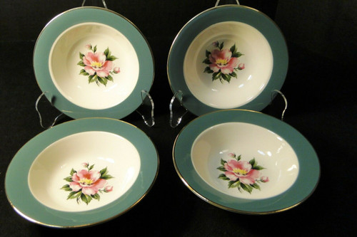 "Homer Laughlin Century Service Empire Green Berry Bowls 5 7/8"" Set 4 