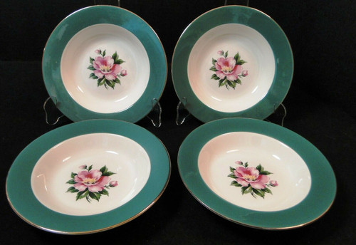 "Homer Laughlin Century Service Empire Green Soup Bowls 8 1/4"" Set of 4 
