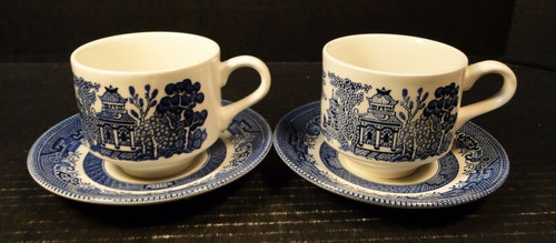 Churchill Blue Willow Blue White Cup Saucer Sets England 2   DR Vintage Dinnerware and Replacements