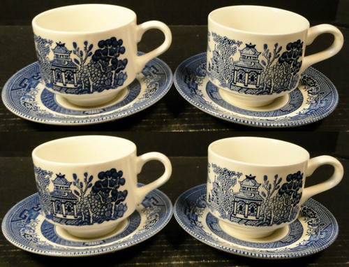 Churchill Blue Willow Blue White Cup Saucer Sets England 4   DR Vintage Dinnerware and Replacements