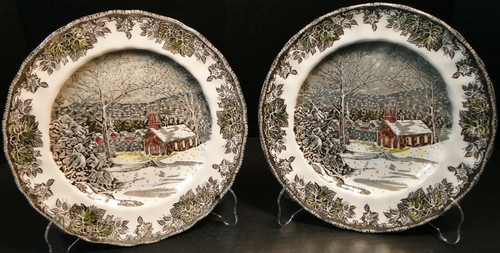 "Johnson Brothers Friendly Village School House Dinner Plates 9 7/8"" 2 