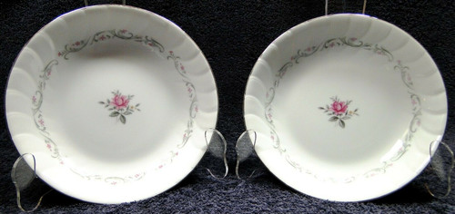 "Fine China of Japan Royal Swirl Soup Bowls 7 3/4"" Salad Set of 2 