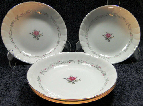 """Fine China of Japan Royal Swirl Soup Bowls 7 3/4"""" Salad Set of 4 