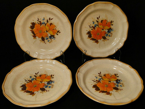 """Mikasa Flower Fest Salad Plates 8"""" EC 452 Garden Club Set of 4 