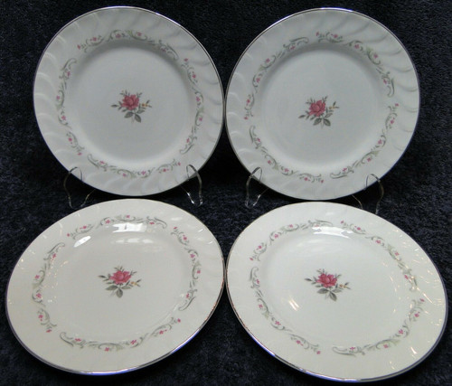 "Fine China of Japan Royal Swirl Salad Plates 7 5/8"" Set of 4 
