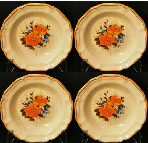 "Mikasa Flower Fest Soup Bowls 8 3/4"" EC 452 Garden Club Set of 4 