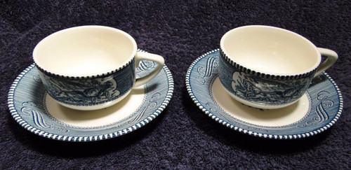 Currier Ives Royal China Blue and White Tea Cup Saucer Sets 2 | DR Vintage Dinnerware Replacements