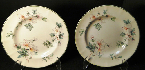 """Adams Azalea Salad Plates 8 1/4"""" English Stoneware Green Set of 2 