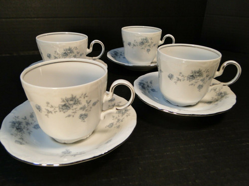 Johann Haviland Bavaria Blue Garland Tea Cup Mug Saucer Sets 4 | DR Vintage Dinnerware and Replacements