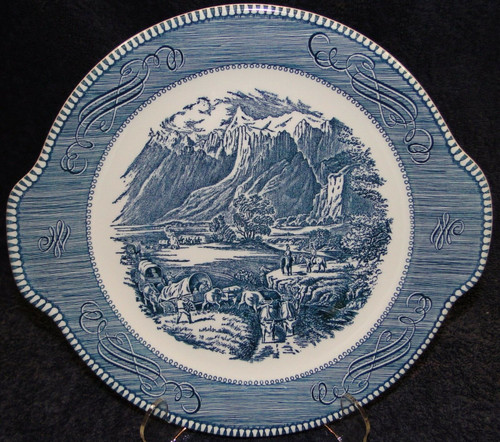 "Currier Ives Royal China Blue & White Platter 11 1/2"" Rocky Mountains 