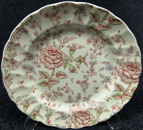 """Johnson Brothers Rose Chintz Dinner Plate 9 7/8"""" Pink Roses Green Mark   DR Vintage Dinnerware and Replacements"""