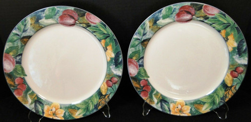 """Mikasa Ultima Plus Fruit Collage Dinner Plates 10 3/4"""" HK 107 Set of 2   DR Vintage Dinnerware and Replacements"""