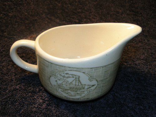 SCIO Currier Ives Creamer Steamboat Green | DR Vintage Dinnerware and Replacements