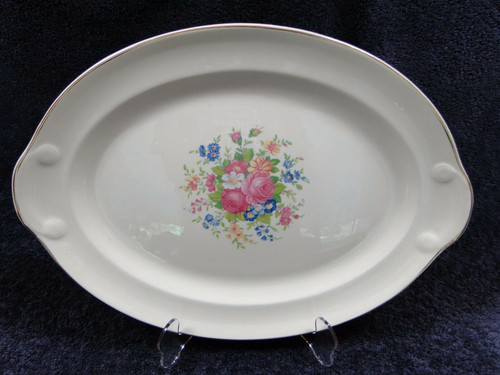 """Taylor Smith Taylor 1821 Oval Serving Platter 14"""" Floral Roses Center 