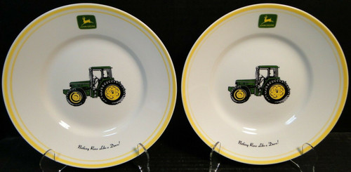 "Gibson John Deere Salad Plates 9"" Tractor Nothing Runs like a Deere 2 