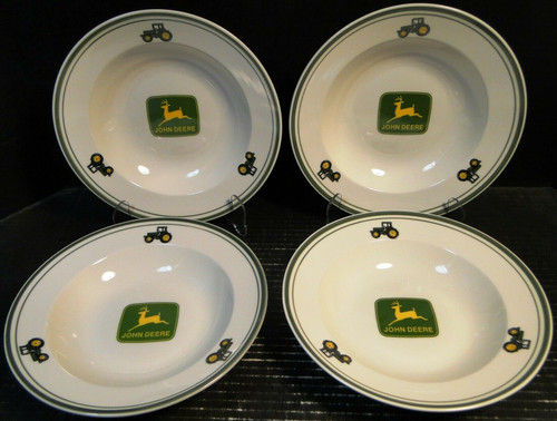 "Gibson John Deere Soup Bowls 9"" Salad Pasta Logo Tractor Set of 4 