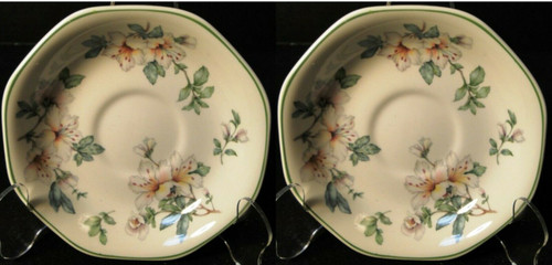 Adams Azalea Saucers English Stoneware Green Set of 2 | DR Vintage Dinnerware and Replacements