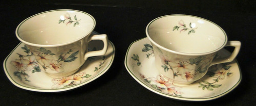 Adams Azalea Tea Cup Saucer Sets English Stoneware Green 2 | DR Vintage Dinnerware and Replacements