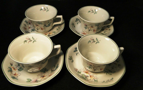 Adams Azalea Tea Cup Saucer Sets English Stoneware Green 4 | DR Vintage Dinnerware and Replacements