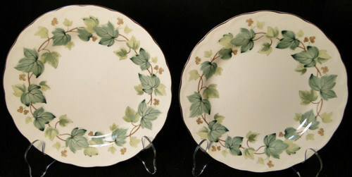 "Nikko Greenwood Salad Plates 7 3/8"" Casual Living Green Leaves Set 2 