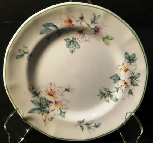 "Adams Azalea Bread Plate 6 1/4"" English Stoneware Green 