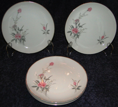 Fine China of Japan Golden Rose Bread Plates Set of 4 Excellent