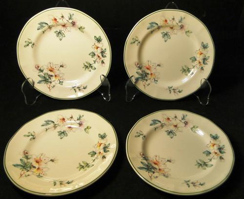 "Adams Azalea Bread Plates 6 1/4"" English Stoneware Green Set of 4 Excellent"