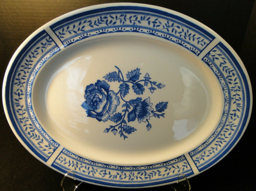 """Johnson Brothers Chelsea Rose Large Oval Serving Platter 13 3/4"""" Blue 