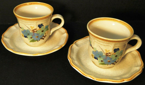 Mikasa Blue Sonnet Tea Cup Saucer Sets Garden Club EC407 2 Excellent
