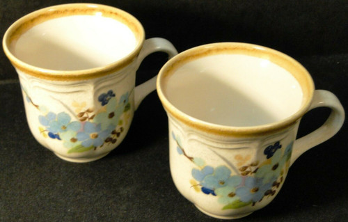 Mikasa Blue Sonnet Tea Cups Mugs Garden Club EC407 Set of 2 Excellent