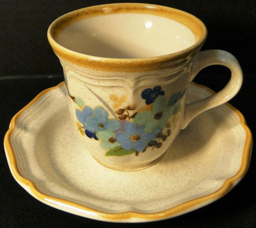 Mikasa Blue Sonnet Tea Cup Saucer Set Garden Club EC407 Excellent