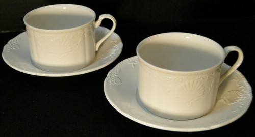 Mikasa South Hampton White Tea Cup Mug Saucer Sets DY 902 2 | DR Vintage Dinnerware and Replacements
