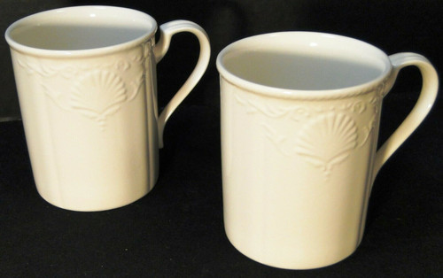 """Mikasa South Hampton White Tall Mugs 4"""" DY 902 2
