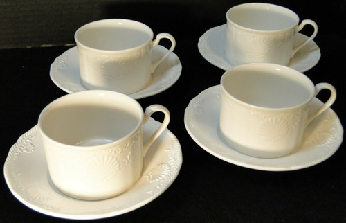 Mikasa South Hampton White Tea Cup Mug Saucer Sets DY 902 4 | DR Vintage Dinnerware and Replacements
