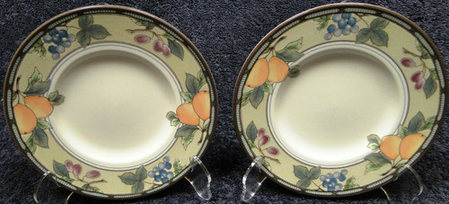 """Mikasa Garden Harvest Intaglio Saucers Bread Plates 6 1/2"""" CAC29 Set 2 