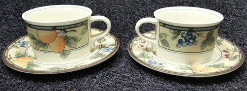 Mikasa Intaglio Garden Harvest Mugs Cups Saucers CAC29 Set of 2 | DR Vintage Dinnerware and Replacements