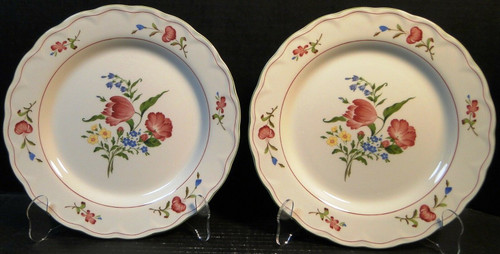 "Nikko Biarritz Dinner Plates 10 1/4"" Provincial Designs Set of 2 
