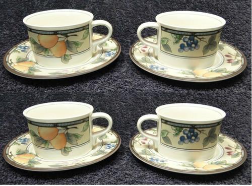 Mikasa Intaglio Garden Harvest Mugs Cups Saucers CAC29 Set of 4 Excellent